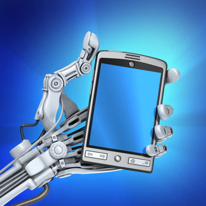 robot holding handheld device