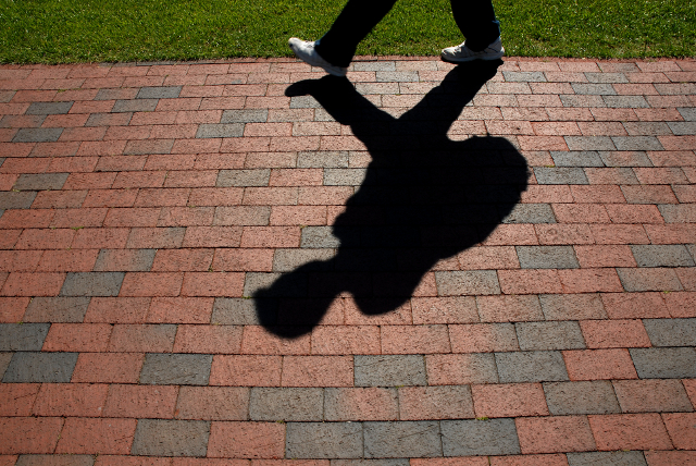 Student Shadow on bricks
