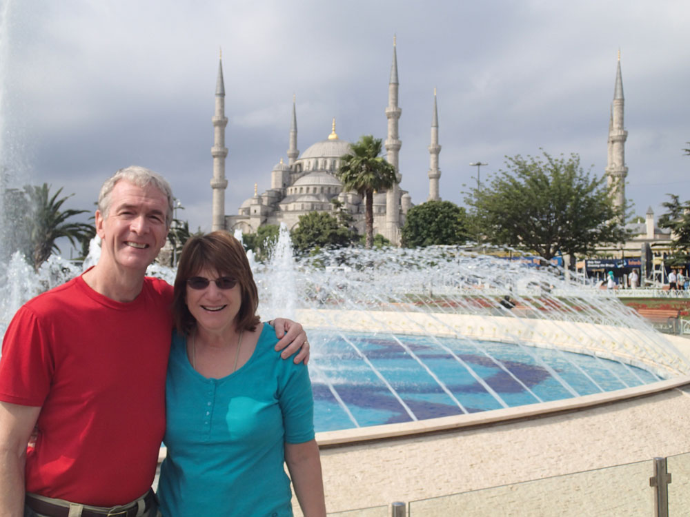 Jill and Jeff in front of the Blue Mosque