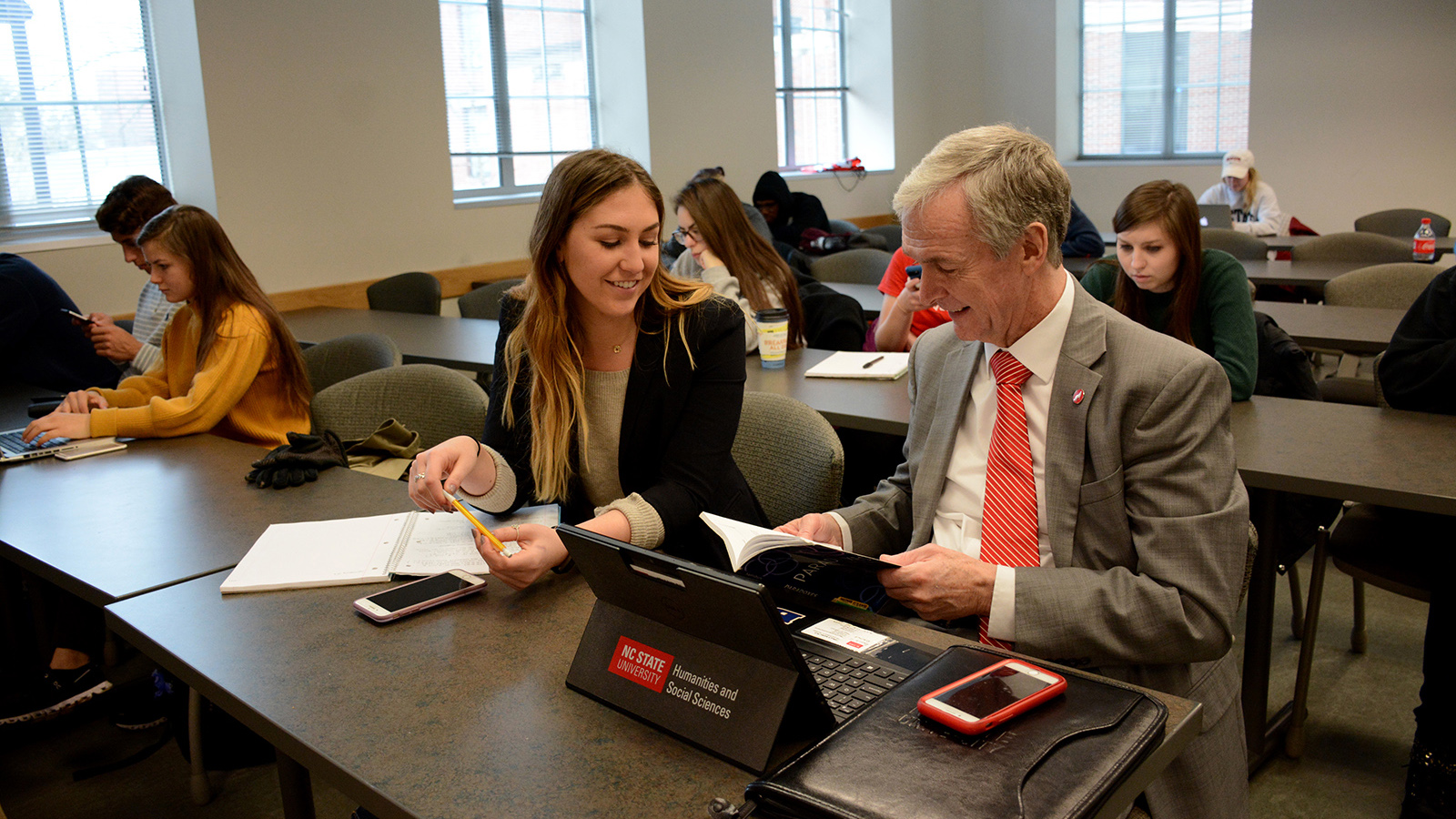 Dean Jeff Braden and student Taylor Hayden in class.