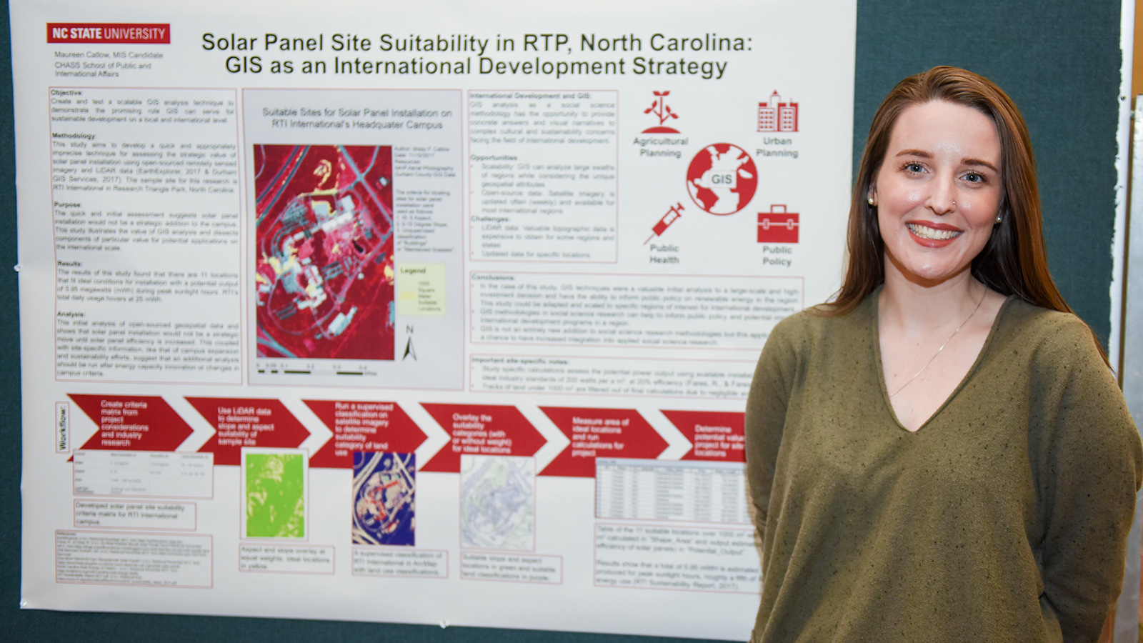 Missy Catlow stands in front of her research poster