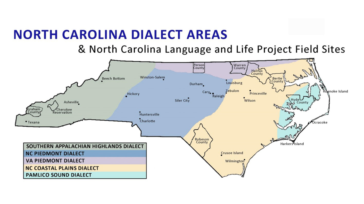 dialect map of NC