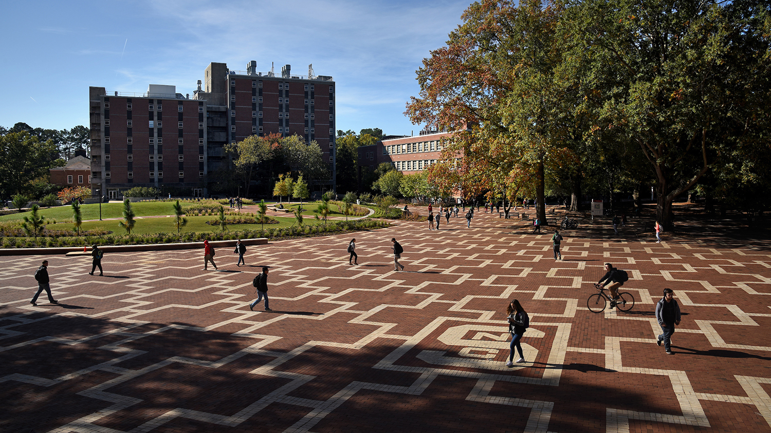 Students walking in Brickyard