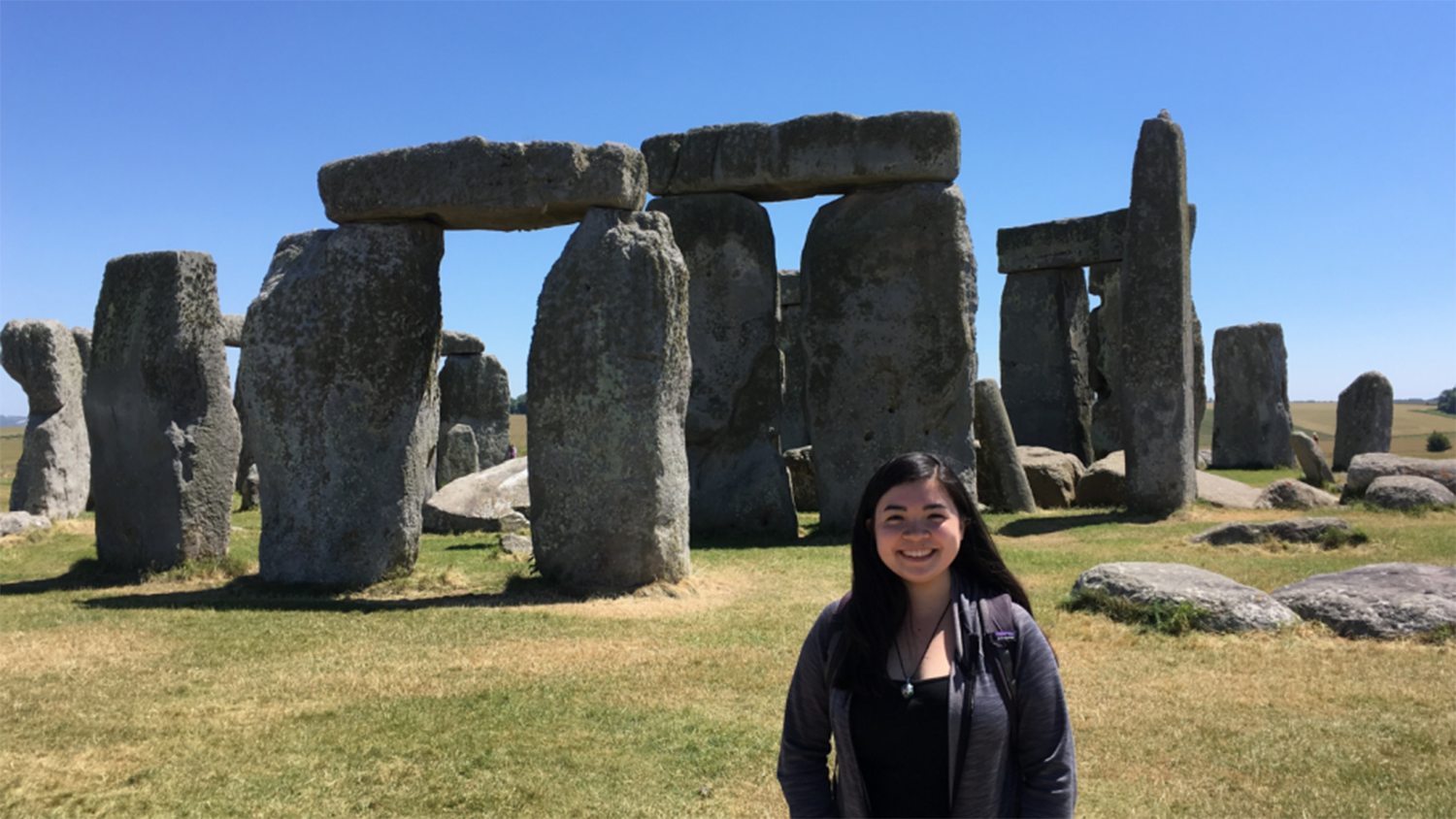 Photo of Megan Wong in front of Stonehenge