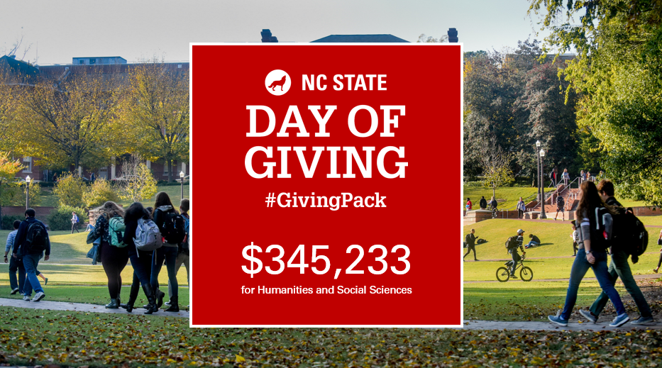 grand total of Day of Giving put on background photo of campus