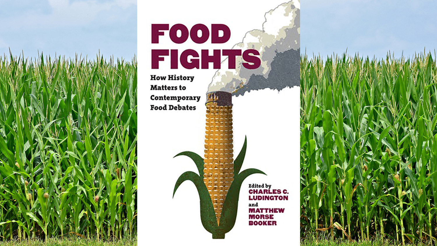 cover of book superimposed over a field of corn