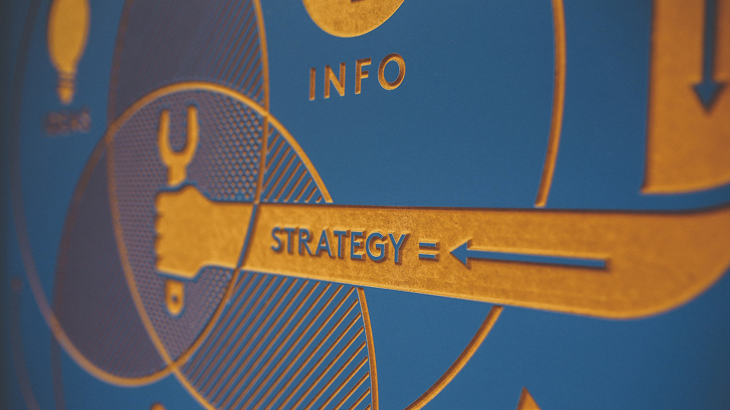 Sign that reads: info leads to strategy