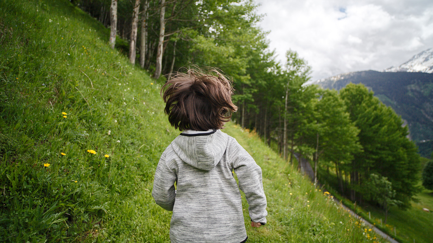 child running outdoors