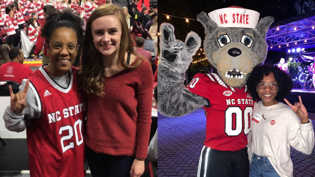 student standing with wolf mascot