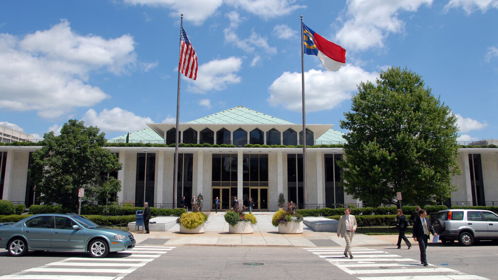 The NC legislative building in downtown Raleigh