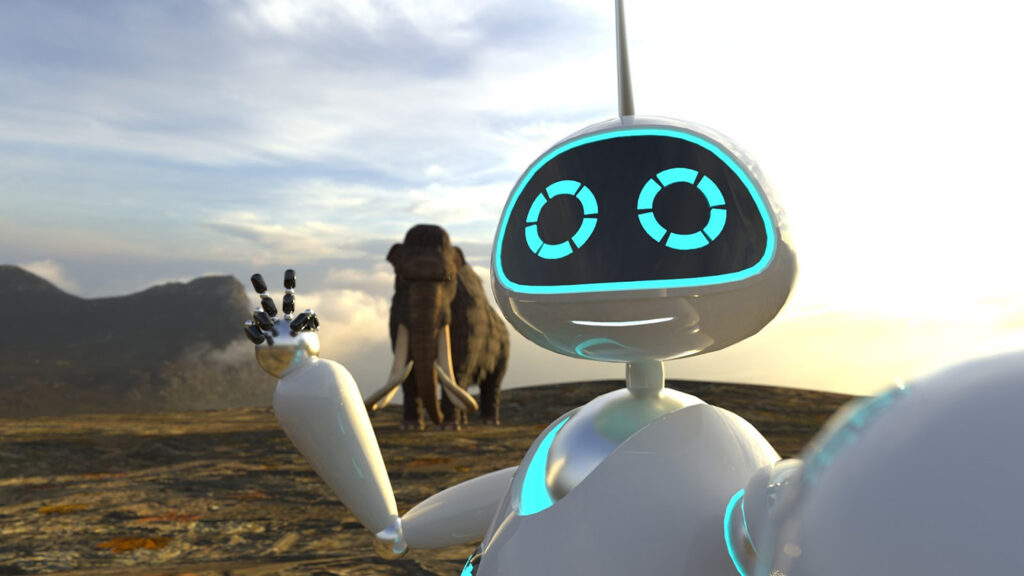 virtual robot in front of elephant