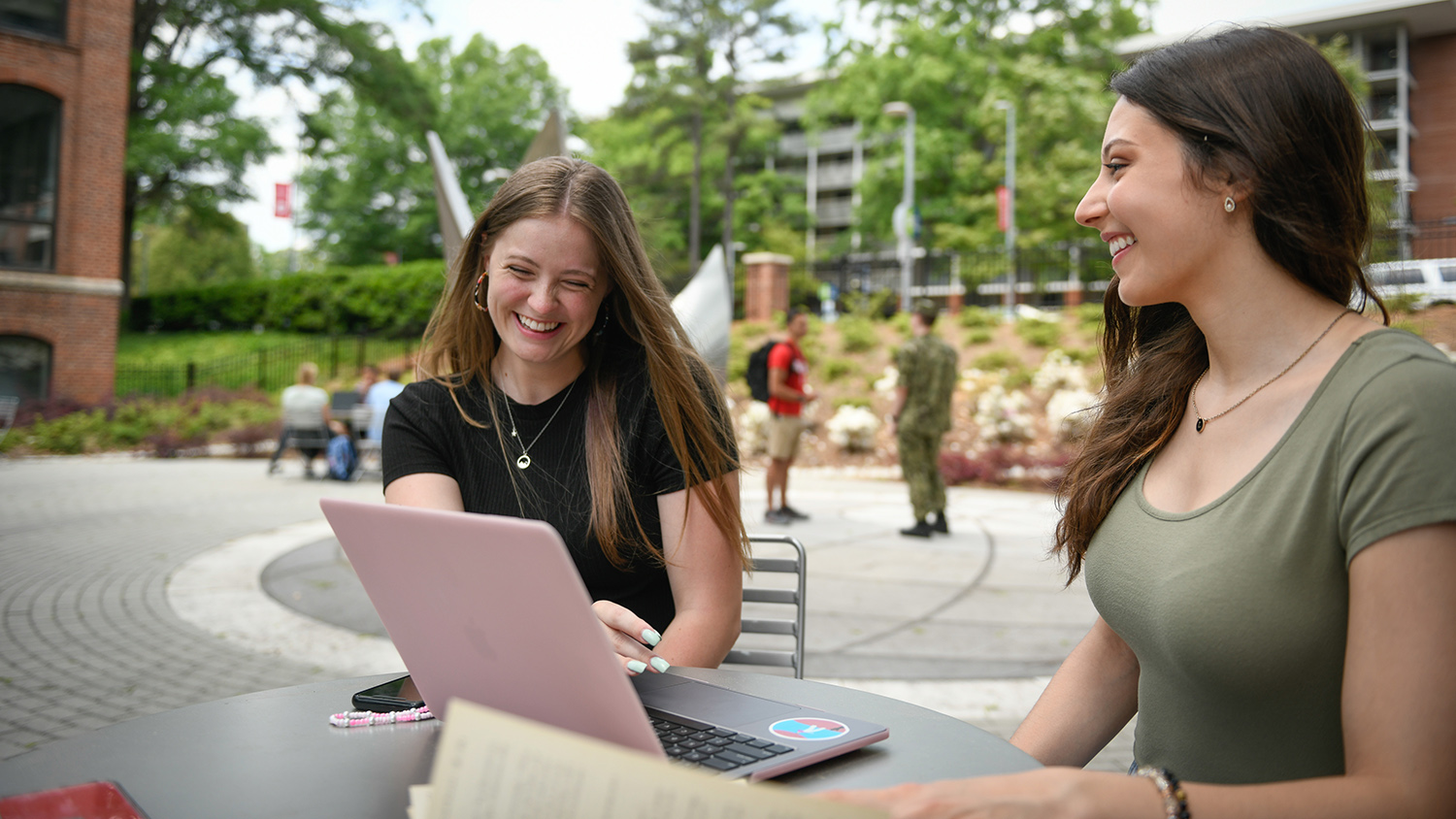 Students chat in NCState's Global Courtyard