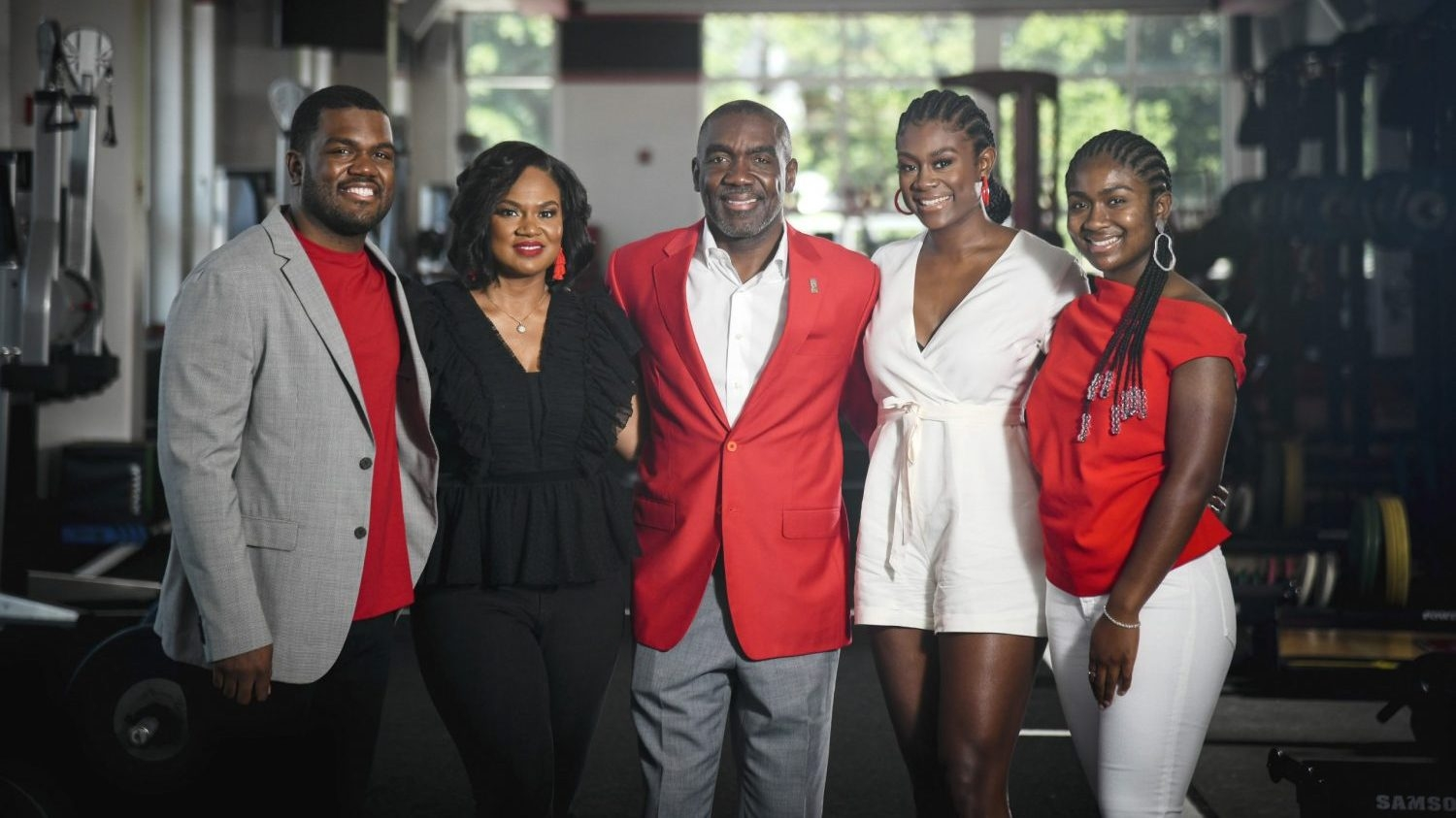 the Washington family posed together at Vaughn Towers