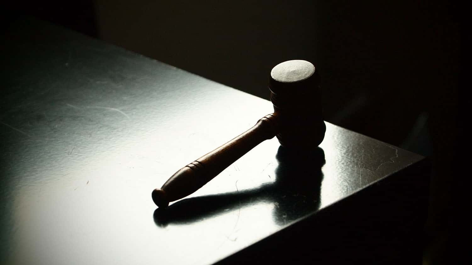 a gavel rests on a table